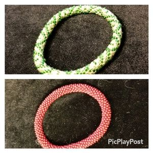Jewelry - Green and red seed bead bracelets.